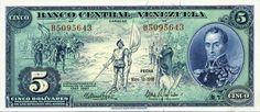 Pieza bbcv5bs-aa01-b7 (Anverso). Billete del Banco Central de Venezuela. 5 Bolívares. Diseño A, Tipo A. Fecha Mayo 10 1966. Serie B7
