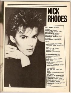Nick Rhodes- this looks really familiar, thinking maybe I had this back in the day.