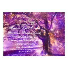 Rustic Purple Oak Tree Wedding Invitations with romantic twinkle lights and a magical glow. OFF when you order Invites. Wedding Invitations Online, Country Wedding Invitations, Custom Invitations, Wedding Programs, Invites, Invitation Ideas, Low Cost Wedding, Wedding Guest List, Country Wedding Cakes