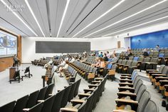 Gensler Earns Top Marks for Its Artful Business School at the University of Kansas Lancaster, Auditorium Design, Lecture Theatre, University Of Kansas, Hall Design, Interior Design Magazine, Architecture Student, Home Room Design, Learning Spaces