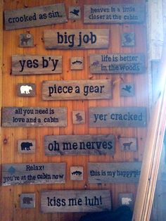 Cabin Decor - Signs with Newfoundland Sayings Newfoundland Canada, Newfoundland And Labrador, Rustic Wood Signs, Wooden Signs, Jigs Dinner, Stencil Decor, Stencils, All Need Is Love, Cottage Signs