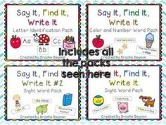 Say It, Find It, Write It - Bundle $ Perfect for Kindergarten and RTI groups