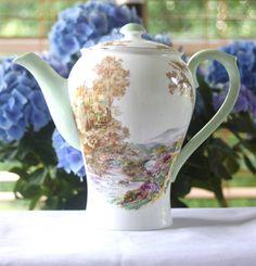"Vintage Shelley ""Heather"" 8 Inch Coffee Pot - 1940's Coffee Pot, Mint Green Coffee Pot, English Bone China - BEAUTIFUL Condition!"