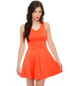 Call Me Baby Neon Orange Dress - Simple front, cute back. I wonder how I'd look..  #lovelulus