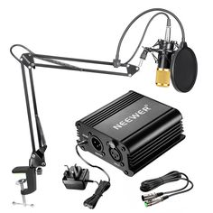 Neewer® Professional Condenser Microphone & Suspension Boom Scissor Arm Stand with Built-in XLR Cable and Mounting Clamp & Pop Filter & Phantom Power Supply with Adapter Kit Music Recording Equipment, Audio Equipment, Recording Studio, Blue Yeti Usb Microphone, Phantom Power, Recorder Music, Hifi Audio, Kit, Montage