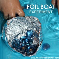 Floating foil boat experiment. An easy science floating and sinking activity for kids to experiment with. Great for preschoolers and school aged children. Book themed activity based on 'Toy Boat' by Randall de Save.