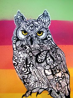 Horned Owl Zentangle Art