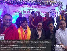 (L-R): Geshe Chonzey Tengye-la, Nepal's Minister of Defence the Honourable Mr. Bhimsen Das Pradhan, Acha Lhakpa-la, Tsem Rinpoche's assistants Ooi Beng Kooi and Pastor Khong Jean Ai from Kechara (Malaysia).