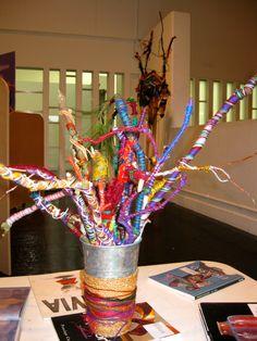Wrapping twigs in yarn