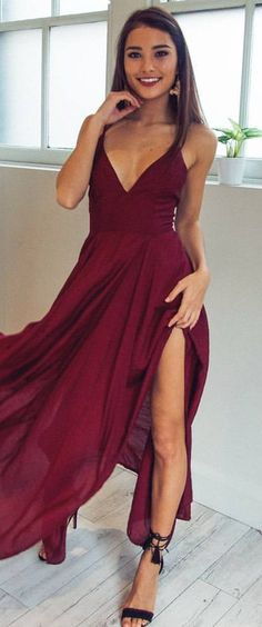 #spring #outfits Wine 'Die For Me' Maxi Dress