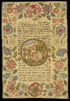 I love the composition of this sampler. I am inspired to use lots of color on my next stitching project! English, 19th century. V
