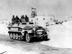A German Sdkfz 251 halftrack advances past Mechili - pin by Paolo Marzioli Military Love, Military Gear, Ww2 History, Military History, Army Vehicles, Armored Vehicles, North African Campaign, Erwin Rommel, Afrika Korps