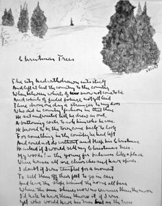 "An early version of Frost's poem ""Christmas Trees,"" illustrated with a watercolor by his daughter Lesley and enclosed in a 1915 letter."