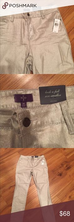 NOT YOUR DAUGHTER JEANS.  Skinny Jeans NYDJ  Skinny size 14 Silver foil color great fit new with price tickets NYDJ Jeans Skinny