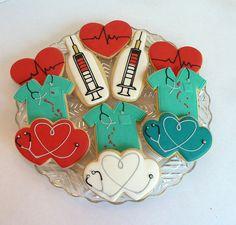We love Nurses! by Kelley Hart Custom Cookies Nurse Cookies, Fun Cookies, Cupcake Cookies, Decorated Cookies, Birthday Cookies, Cookie Frosting, Royal Icing Cookies, Iced Sugar Cookies, Cookie Designs