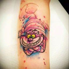 Watercolor tattoo – Stregatto watercolor tattoo - Famous Last Words Diy Tattoo, Tattoo Now, Tatoo Art, Tattoo Fonts, Tattoo 2017, Tattoo Ideas, Tattoo Quotes, Disney Aquarell Tattoo, Disney Watercolor Tattoo