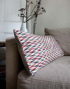 Arrows Recycled Decorative ThrowPillow / Throw Cushion Cover. 30x65cm. Vintage Silk and Natural Linen. Modern Design. Eco Living. LAST ONE. €65.00, via Etsy.