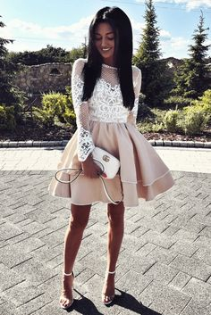 Cute A Line Round Neck White Lace Long Sleeves Champagne Satin Short Homecoming Dresses, Quinceanera Dresses, Short Party Dresses Burgundy Homecoming Dresses, Hoco Dresses, Quinceanera Dresses, Sexy Dresses, Short Party Dresses, School Dance Dresses, Casual Chique, A Line Shorts, Satin Shorts