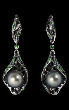 Mousson Undina Earrings   Black gold, Pearl, Tsavirites, Multicolored sapphires