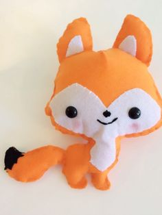 Mr Fox - a soft felt stuffed toy doll plushie, suitable for all ages, nursery or kids room display