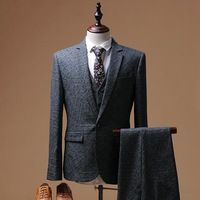 Mens Suits Business Gray Men Dress Suit Grooms Business Slim Fit Jacket Pants Vest L54