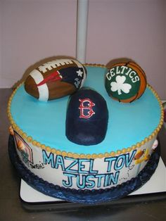 Boston Sports Bar Mitzvah Cake - Patriots, Celtics, Red Sox