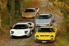 Lamborghini V12 classics: Diablo, Countach, Murciélago and Miura.