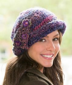 Buttoned Cloche Hat Free Crochet Pattern in Red Heart Yarns
