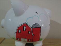 Personalized Boys Piggy Bank Red Barnyard by KUTEKUSTOMKREATIONS, $22.99