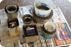 Como hacer tus propias macetas de cemento. La mezcla habitual es : 3 partes de arena, 1 parte de cemento y 1 parte de agua. Se mezcla, se vacía, se deja secar a la sombra dos o tres días y listo.