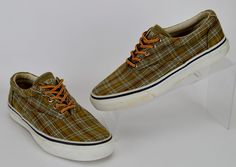 Sperry Top-Sider Men's 7 M Green Brown Plaid Canvas Boat Shoes #SperryTopSider #BoatShoes