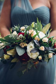 bridesmaid bouquet - fall tones with hints of warm peach