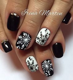 cute black and white nail art. pretty winter nail design. Christmas festive holidays nails
