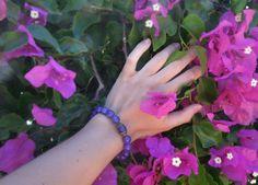 Gemstones bracelet/ Purple Agate Bracelet / Beaded by RetroBicycle, €12.00