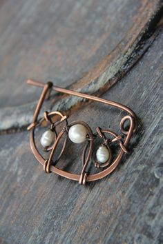 Copper and pearls shawl pin Copper lace scarf by Keepandcherish
