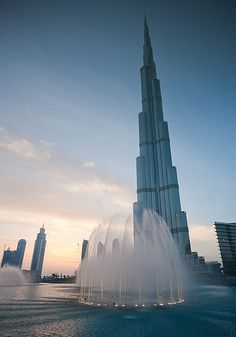Burj Khalifa, Dubai, United Arab Emirates. Burj Khalifa is the tallest building in the world, at more than 800 metres tall. There are 160+ floors and the observation deck is located on level 124.
