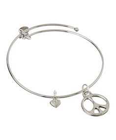 Loving this Silver Peace Charm Bracelet on #zulily! #zulilyfinds