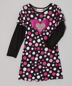 Another great find on #zulily! Black Polka Dot Heart Layered Long-Sleeve Dress - Toddler & Girls #zulilyfinds