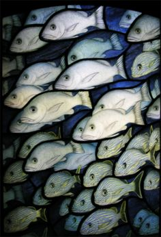 """""""Into the deep"""" stained glass Brian Waugh Stained Glass Paint, Stained Glass Designs, Stained Glass Panels, Leaded Glass, Mosaic Glass, Fused Glass, Glass Art, Fish Illustration, Fish Art"""