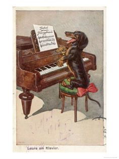 Musical Dachshund Plays a Tune on the Piano Giclee Print Vintage Dachshund, Dachshund Art, Daschund, Funny Dachshund, Fine Art Prints, Framed Prints, Canvas Prints, Caricatures, Printed Magnets
