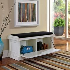 Distressed Upholstered Storage Bench | Overstock.com Shopping - The Best Deals on Benches