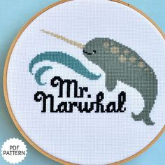 narwhal cross-stitch design!