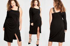 4295a1214d2  PlusModelMag Plus Fashion Find  RACHEL Rachel Roy Asymmetrical Side Ruched  Midi Dress at Rachel