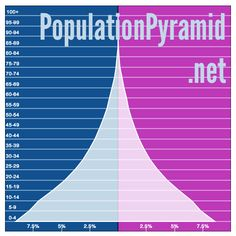 PopulationPyramid.net This site has demographic stats from 1950 to now, and also includes predictions to 2100.  Search by country, region, or globally. Pyramids are split into male/female and grouped by every five years of age.