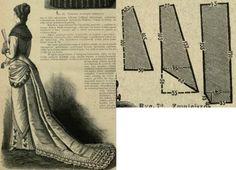 Mody Paryzkie 1879.: Soirée dress with long train skirt.