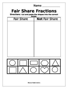 Fair Share Fractions is a cut-and-paste type worksheet that will challenge primary students to think about what fair share or equal amounts look like in fraction images. Matter Worksheets, Geometry Worksheets, Fractions Worksheets, Shapes Worksheets, Repeated Addition Worksheets, Repeated Addition Multiplication, Fraction Image, Triangle Worksheet, Shapes Worksheet Kindergarten