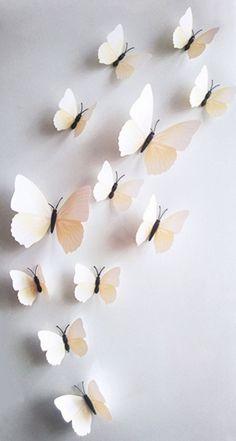 Kleurrijke 3D vlinders wit. Bestel ze eenvoudig en snel in onze webshop www.stickerkamer.nl