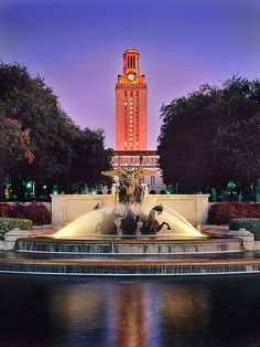 """UT Tower at Sunrise -- After winning the National Championship (note the white """"!"""" on the tower) - the only time the """"1"""" is on. Whenever we win a game (of any kind), the tower is solid orange. If it """"ain't lit,"""" then we didn't win."""