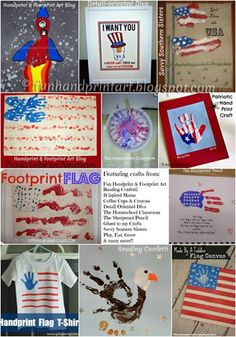 4th of July Handprint Art, DIY Patriotic Shirts, Canvas, American Flags Crafts