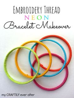 Add color to your bangle bracelets with embroidery thread!  DIY by My Craftily Every After.